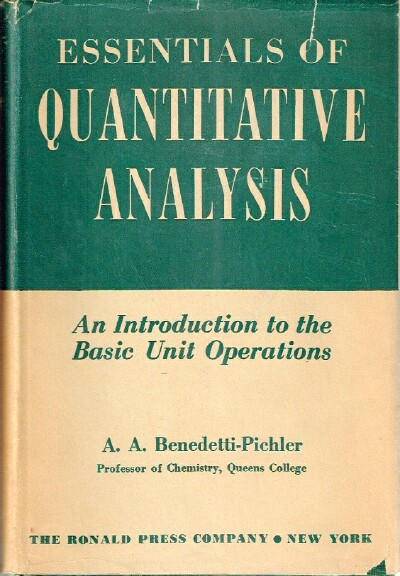 Image for Essentials of Quantitative Analysis An Introduction to the Basic Unit Operations