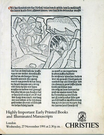 Image for Highly Important Early Printed Books and Illuminated Manuscripts (London, 27 Nov 1991)