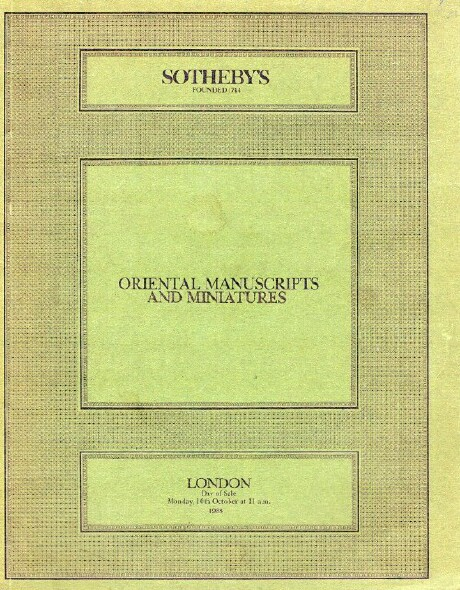 Image for Oriental Manuscripts and Miniatures (London, Oct. 10, 1988)
