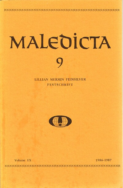 Image for Maledicta 9: Lillian Mermin Feinsilver Festschrift 1986-1987: The International Journal of Verbal Aggression