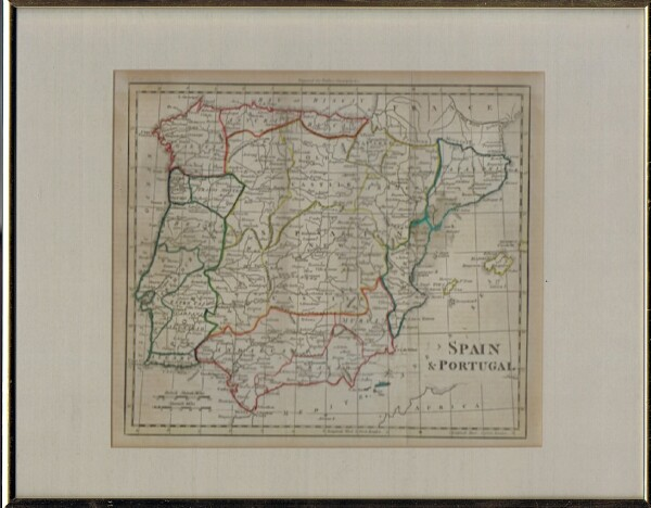 Image for Map of Spain & Portugal (Framed and Matted)