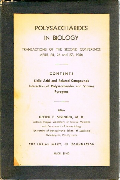 Image for Polysaccharides in Biology Transactions of the Second Conference April 25,26, and 27, 1956, Princeton, N. J.