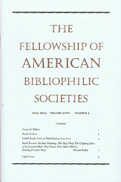Image for The Fellowship of American Bibliophilic Societies, Fall 2014, Volume XVIII, Number 2