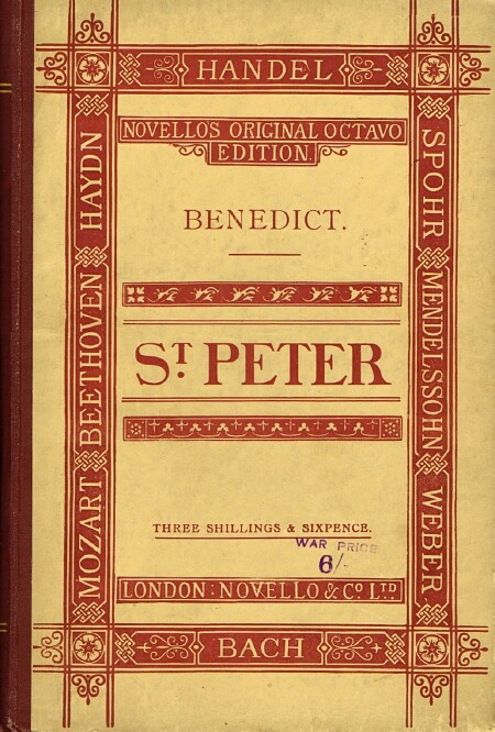 Image for St. Peter: An Oratorio: The Words Selected from the Holy Scriptures. Composed for the Birmingham Festival, 1870
