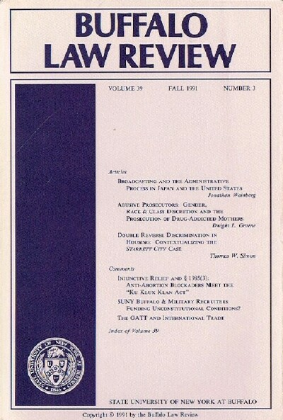 Image for Buffalo Law Review (Volume 39, Number 3)