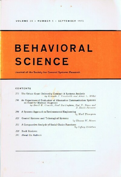 Image for Behavioral Science (Volume 20, Number 5, September 1975) Journal of the Society for General Systems Research