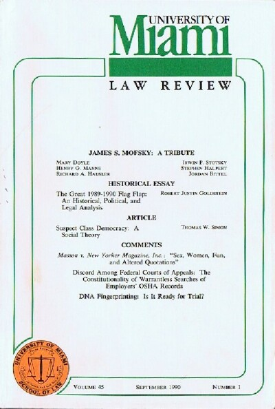Image for University of Miami Law Review (Volume 45, Number 1, September 1990)