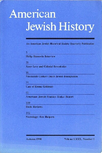 Image for American Jewish History (Autumn 1990 - Volume LXXX, Number 1)