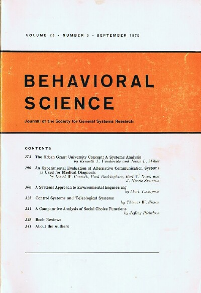 Image for Behavioral Science (Volume 20, Number 5, September 1975)