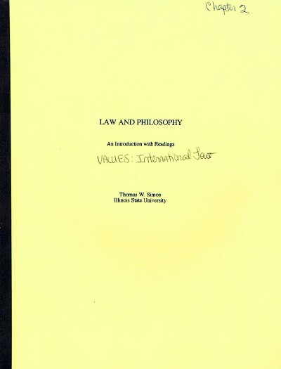 Image for Law and Philosophy: Chapter 2: Values: International Law (Author's Bound Galley)