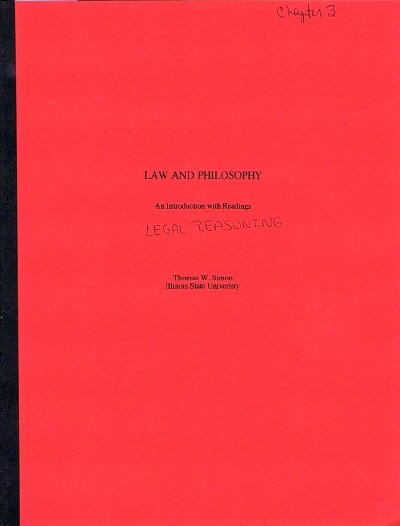 Image for Law and Philosophy: Chapter 3: Legal Reasoning  (Author's Bound Galley)