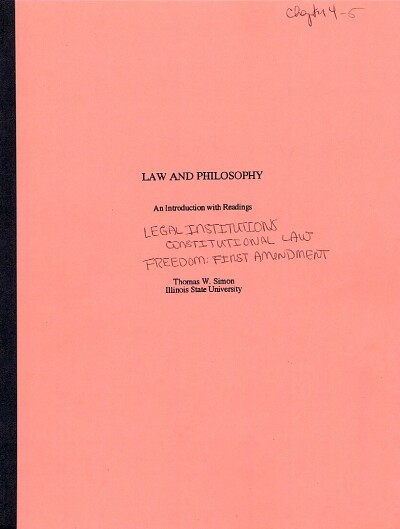 Image for Law and Philosophy: Chapters 4 & 5: Legal Institutions: Constitutional Law & The Bill of Rights  (Author's Bound Galley)